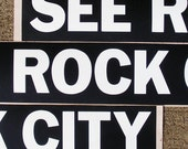 See Rock City vintage bumper sticker, black and white, road trip, old barn, americana, chattanooga, gerogia, lookout mountains, retro