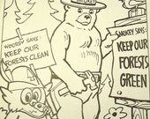 Vintage Woodsy Owl and Smokey Bear together coloring sheet