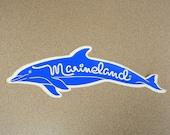 Marineland Florida vintage dolphin shaped bumper sticker royal blue cyan car decal fish