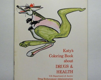 Katy's Coloring Book about Drugs and Health 1973, green kangaroo, poison, giraffe, doctor, nurse, medical student