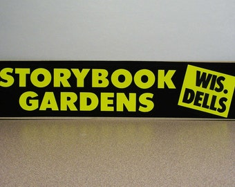 Storybook Gardens Wisconsin Dells vintage bumper sticker, wis, mother goose, nursery rhymes park, vintage vacation, road trip