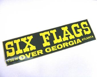 Six Flags Over Georgia Vintage Bumper Sticker roller coaster amusement park, green, yellow
