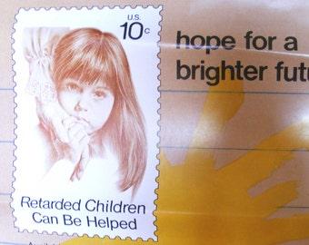 Vintage stamp poster USPS 1974 retarded children 10 cent hope for a brighter future kid watercolor art