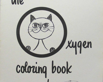 Vintage Cat Coloring Book for adults by Sky-Ox Oxygen flying airplanes pilots flight attendants cute kitty, grown ups