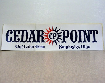 Cedar Point, Lake Erie, Sandusky Ohio, vintage bumper sticker, red, white, blue, red white and blue, vinyl sticker, compass star