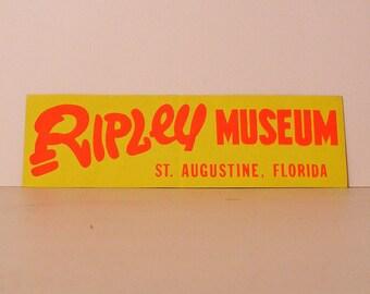 ripley museum florida vintage bumper sticker yellow red orange saint augustine believe it or not vacation fun