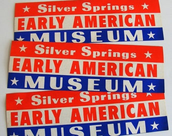 Silver Springs Early American Museum vintage bumper sticker red white and blue patriotic antique automobiles