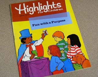 Highlights magazine April 1982 children's fun book, activity puzzles, stories, seahorse, magic tricks, what's wrong, comics, reading