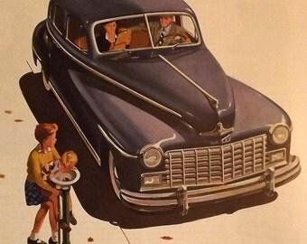 1947 Dodge ad, holiday magazine advertisement, car dealership wall art, antique car collector, blue, kid on bike, family car, luxury sedan