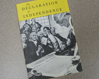 Declaration of Independence Booklet, 1956, John Hancock, Mutual life insurance company, yellow white black, constitution, USA, America