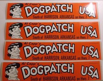 Dogpatch USA vintage bumper sticker, harrison, Arkansas, Ozark Mountains, comic, 1968, Al Capp, Li'l Abner, orance, black,white, jasper