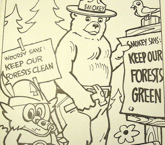 Items similar to vintage woodsy owl and smokey bear for Smokey the bear coloring pages