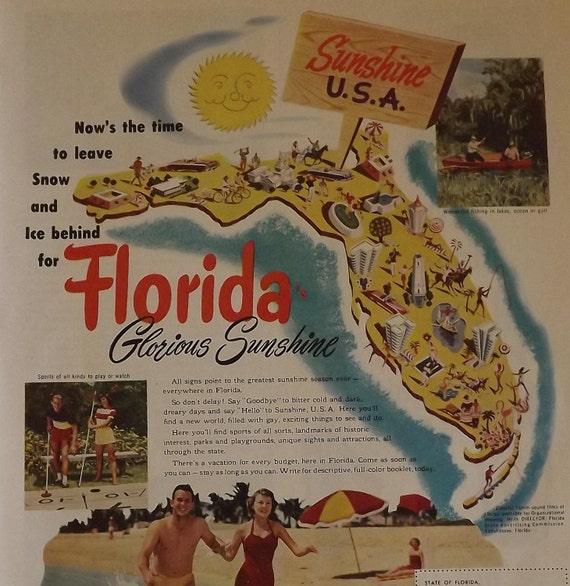 Florida travel advertisement 1952 holiday magazine