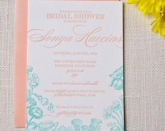 Custom Letterpress - Floral Invitations -