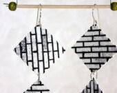 Bricks-earrings with sterling silver hooks