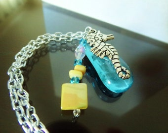 FINAL Sale - Sweet Seahorse Anklet in Aqua with Yellow-Beach Candies Anklet by Jessentials
