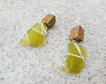 SALE Clearance Silver Wire Wrapped Earrings Bronze Green color topped with Copper Beach Candies by Jessentials #G3