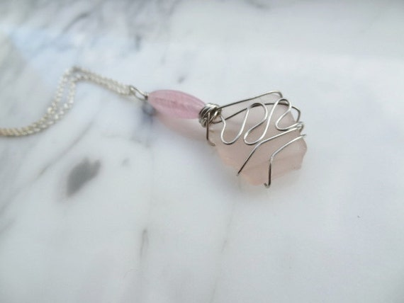 Half Price Sale - Pink Seaglass Necklace- Pretty with a Pink Bead-Beach Candies by Jessentials