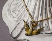 Burnished Yellow Swooping Sparrow Necklace