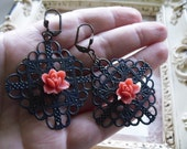 CLEARANCE Coral Lotus and Navy Lace Earrings