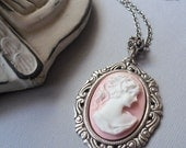 Victorian Pink Cotton Candy- Petite Cameo Necklace in Antique Silver