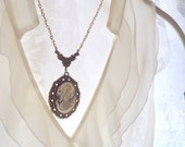 Lady Rosewood Cameo Necklace in Antique Gold