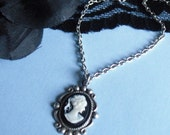Cookies and Cream Miniature Cameo Necklace Black and Ivory with Antiqued Silver
