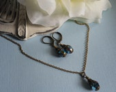 Twilight Blue Splendor Crystal Necklace and Earring Set in Antique Gold