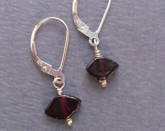 Genuine Garnet Chip earrings Sterling Silver lever back hooks
