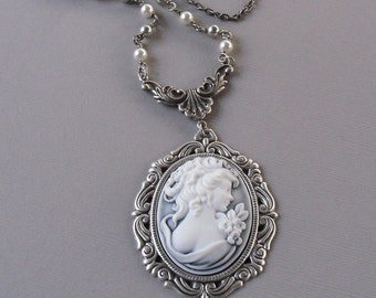 Miss Grey Cameo Necklace
