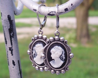 Cookies and Cream Black and Ivory Cameo Earrings