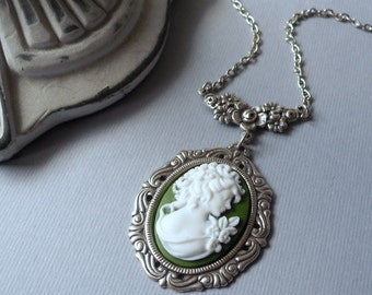 Victorian Christmas Green Cameo Necklace