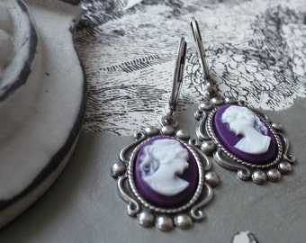 Aubergine and Alabaster Victorian Cameo Earrings in Antique Silver- Plum Purlple White