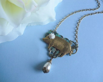 Pearl and Verdigris Brass Pig charm with White Flower Brass Chain