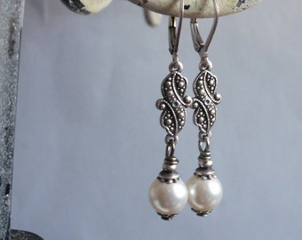Victorian Snow White Pearl Embellished Earrings in Antique Silver