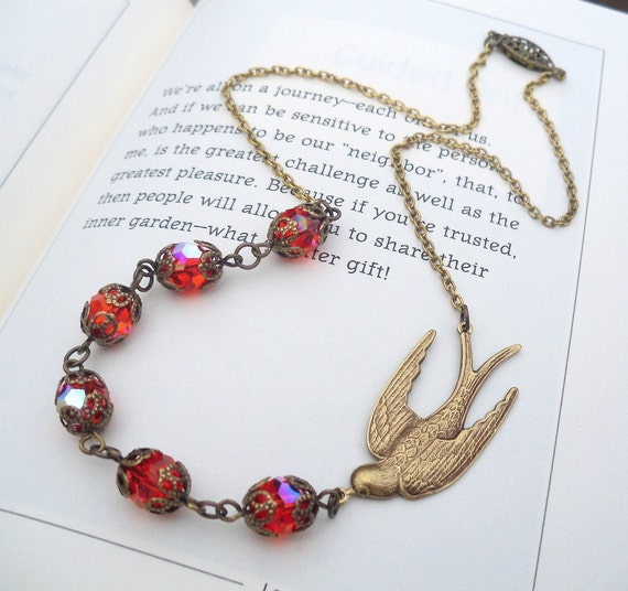 CLEARANCE marked HALF PRICE  Sparrow's Splendor Necklace in Hyacinth Shimmer and Antique Gold