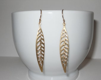 Long Leaf Dangle Earrings in Gold - Minimalist Jewelry - Chic Style Fashion Earring - Gold Jewelry - The Lovely Raindrop - Love