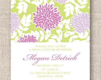 Printable Floral Invitation — Bridal Shower Invitation —Baby Shower Invitation —Customized Invite — Purple, Green Mums