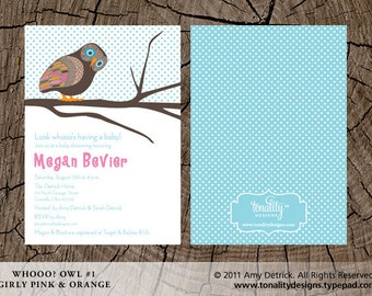 Owl Baby Shower Invitation — Owl Birthday Party Invitation — Printable Owl Invitation