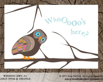 Owl Invitation Annoucment: Whooo Owl DIY Printable with Picture (Girly Pink & Orange)