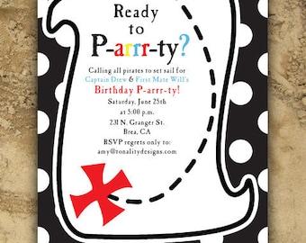 Pirate Birthday Invitation — Pirate Birthday Decor — Birthday Party Invitation