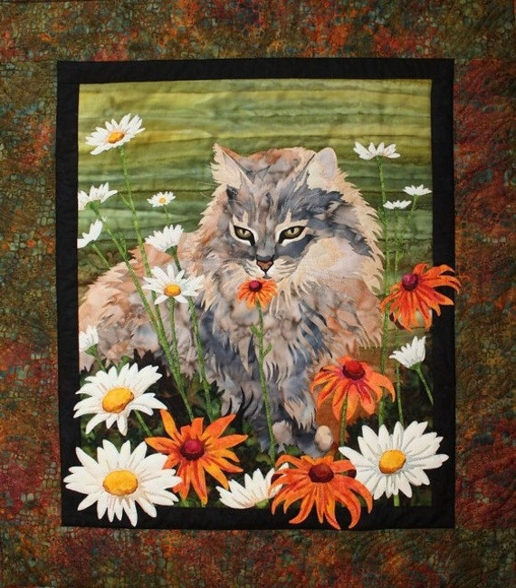 Flo Toni Whitney Cat Flowers Applique Quilt Pattern Quilting