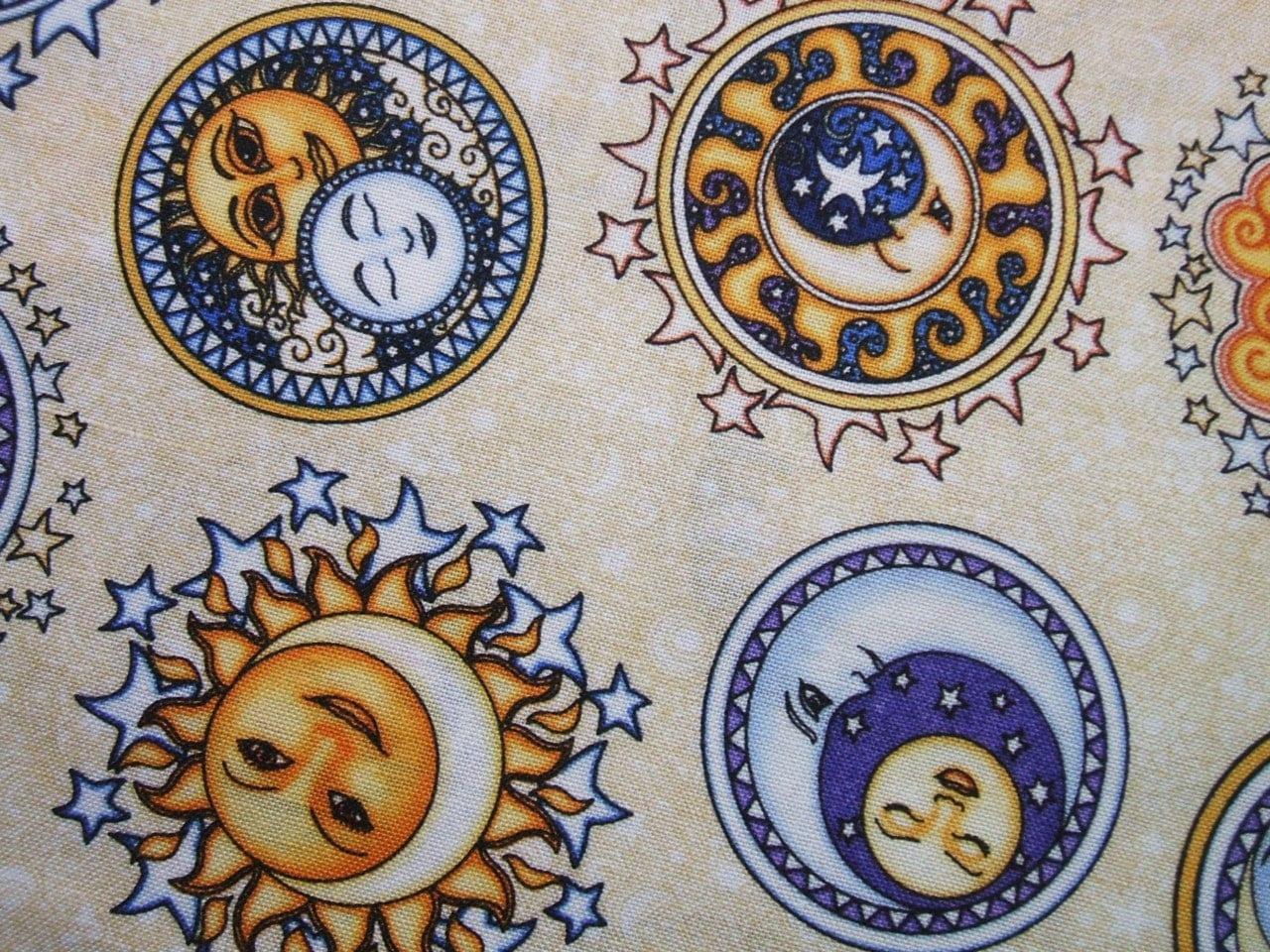 Rjr sew heavenly cream celestial sun moon stars fabric yard for Sun moon and stars fabric