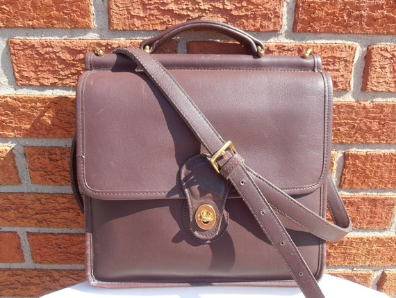 COACH 9927 WILLIS mahogany leather Briefcase messenger purse bag Large