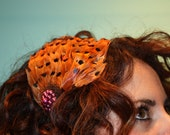 Brown and Black Feather Head Band with Vintage Piece