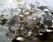 Clear Quartz Faceted Teardrop Briolettes - lot of 6