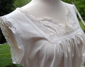 White Cotton Chemise with Eyelet Lace FREE SHIP USA