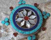 Mandala Buddhist Pendant Silver Turquoise