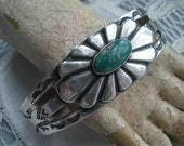 Turquoise and Silver Stamped Bracelet