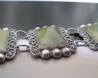 Mexico Green Agate Sterling Bracelet